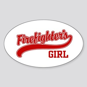 Firefighter's Girl Oval Sticker