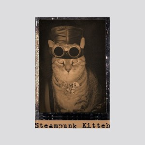 Steampunk Kitteh Rectangle Magnet