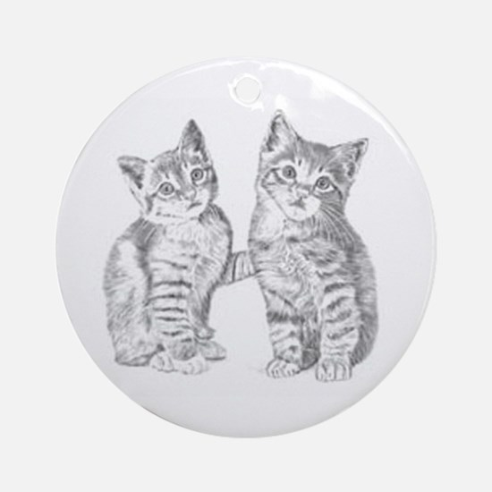 Tabby kittens Round Ornament