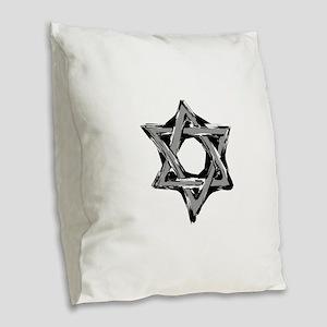 star of david Burlap Throw Pillow