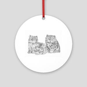 Three Persian kittens Round Ornament