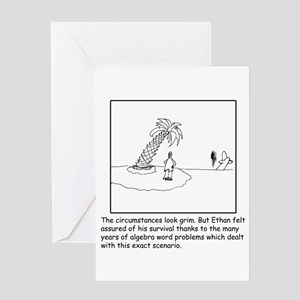 Deserted Algebra Island (b/w) Greeting Cards