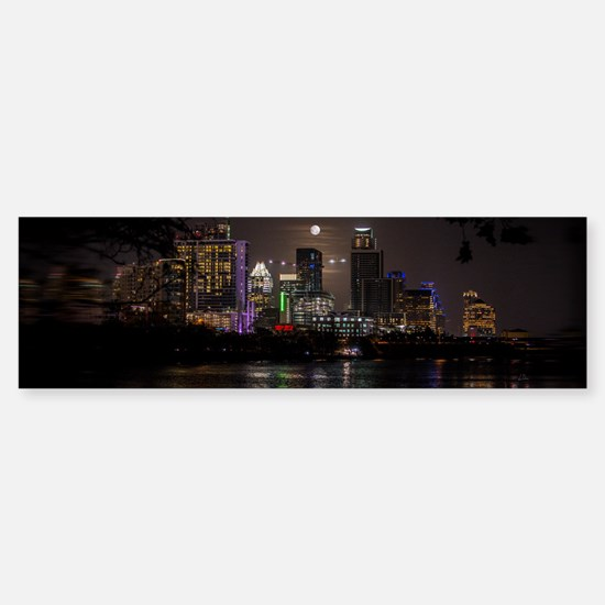 Austin Texas Skyline Full Moon Bumper Bumper Bumper Sticker