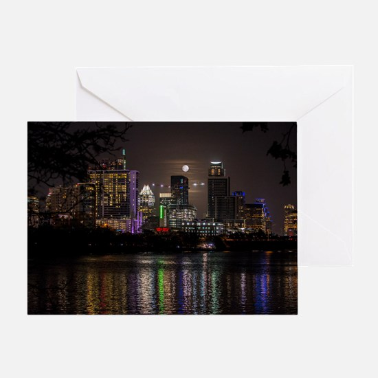 Austin Texas Skyline Full Moon Greeting Cards