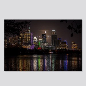 Austin Texas Skyline Full Moon Postcards (Package