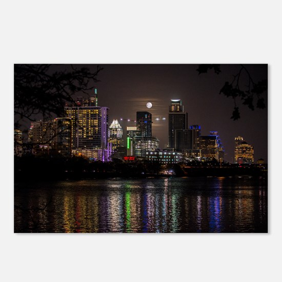 Austin Texas Skyline Full Moon Postcards (Package