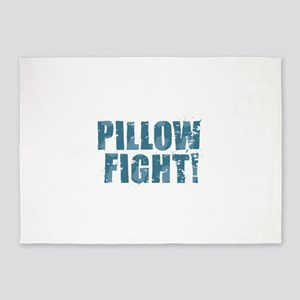 Pillow Fight - Blue 5'x7'Area Rug