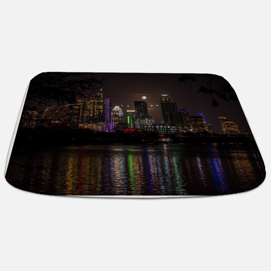 Austin Texas Skyline Full Moon Bathmat