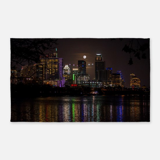Austin Texas Skyline Full Moon Area Rug