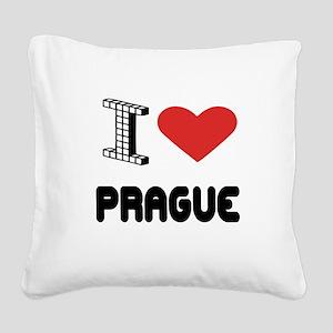 I Love Prague City Square Canvas Pillow