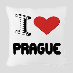I Love Prague City Woven Throw Pillow