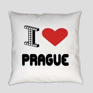 I Love Prague City Everyday Pillow