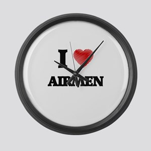 I love Airmen Large Wall Clock
