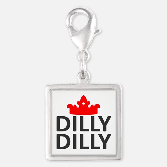 Crown Dilly Dilly Silver Square Charm