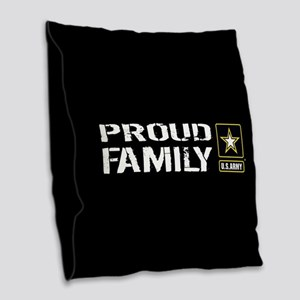 U.S. Army: Proud Family (Black Burlap Throw Pillow