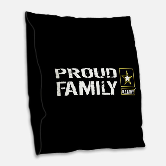 U.S. Army: Proud Family (Black Burlap Throw Pillow