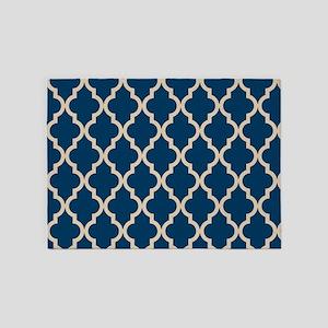 Moroccan Quatrefoil Pattern: Dark B 5'x7'Area Rug