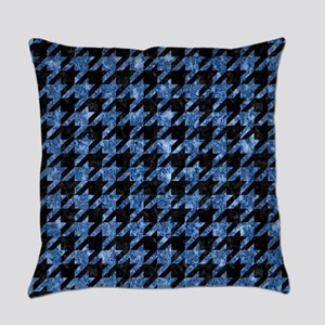 HOUNDSTOOTH1 BLACK MARBLE & BLUE M Everyday Pillow