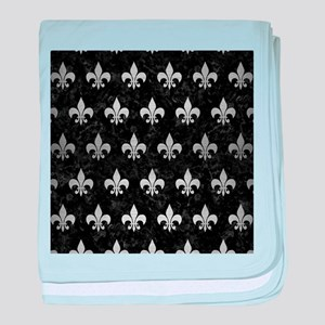ROYAL1 BLACK MARBLE & SILVER BRUSHED baby blanket