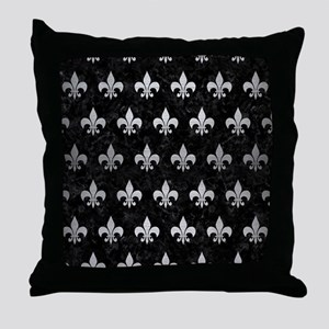 ROYAL1 BLACK MARBLE & SILVER BRUSHED Throw Pillow
