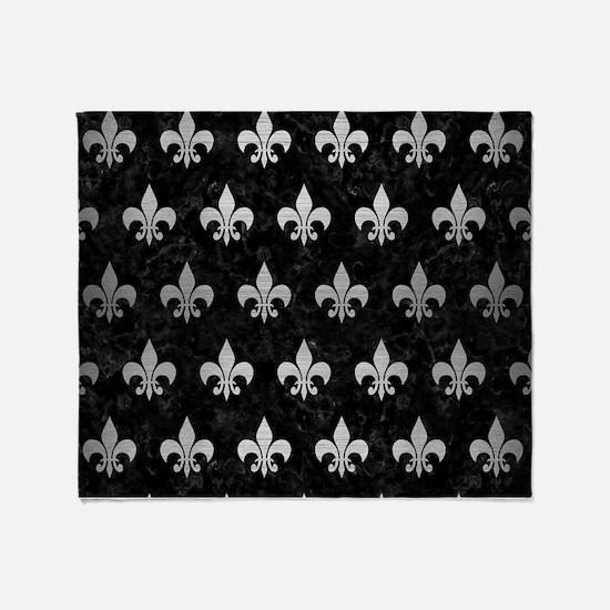 ROYAL1 BLACK MARBLE & SILVER BRUSHED Throw Blanket