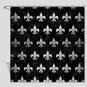 ROYAL1 BLACK MARBLE & SILVER BRUSHE Shower Curtain