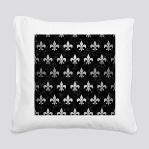 ROYAL1 BLACK MARBLE & SILVER Square Canvas Pillow