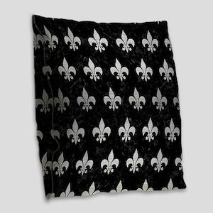 ROYAL1 BLACK MARBLE & SILVER B Burlap Throw Pillow