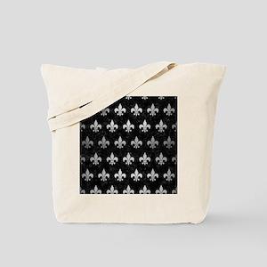 ROYAL1 BLACK MARBLE & SILVER BRUSHED META Tote Bag