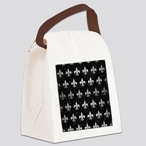 ROYAL1 BLACK MARBLE & SILVER BRUS Canvas Lunch Bag