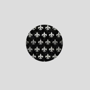 ROYAL1 BLACK MARBLE & SILVER BRUSHED M Mini Button