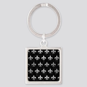 ROYAL1 BLACK MARBLE & SILVER BRUSH Square Keychain