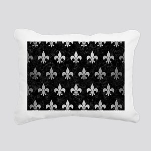 ROYAL1 BLACK MARBLE & SI Rectangular Canvas Pillow