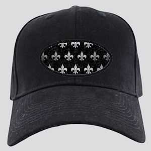 ROYAL1 BLACK MARBLE & SILVER Black Cap with Patch