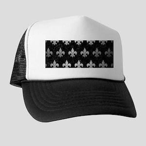 ROYAL1 BLACK MARBLE & SILVER BRUSHED M Trucker Hat