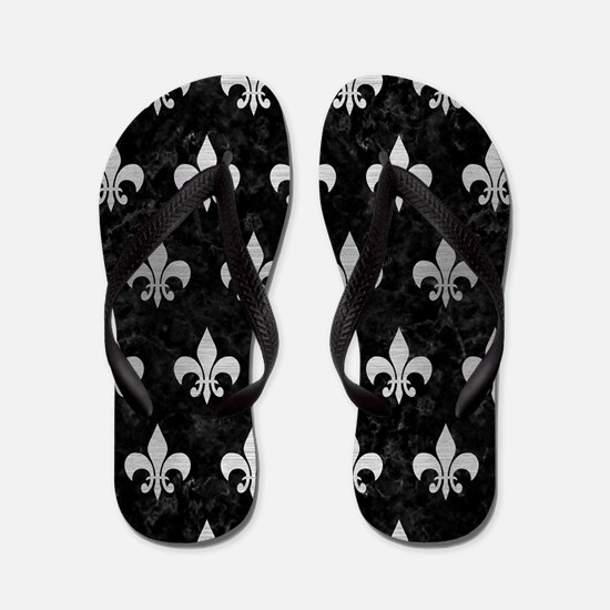 ROYAL1 BLACK MARBLE & SILVER BRUSHED ME Flip Flops