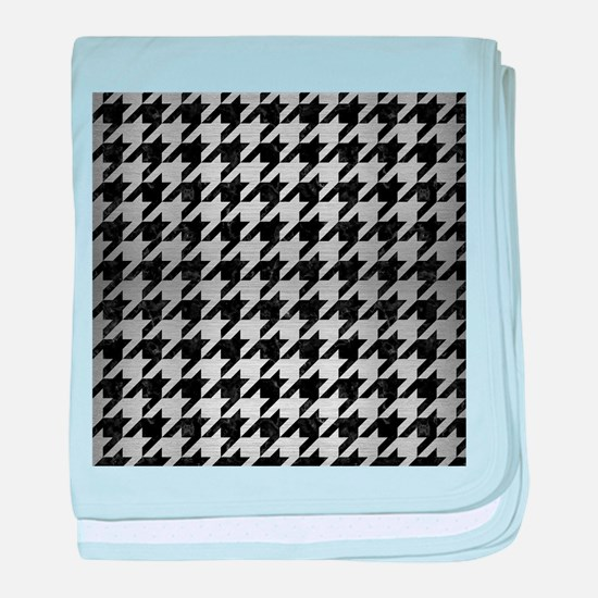 HOUNDSTOOTH1 BLACK MARBLE & SILVER BR baby blanket