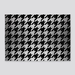 HOUNDSTOOTH1 BLACK MARBLE & SILVER 5'x7'Area Rug