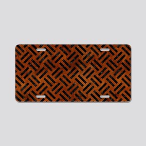 WOVEN2 BLACK MARBLE & BROWN Aluminum License Plate
