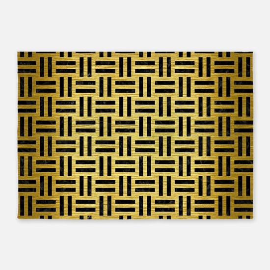 WOVEN1 BLACK MARBLE & GOLD BRUSHED 5'x7'Area Rug