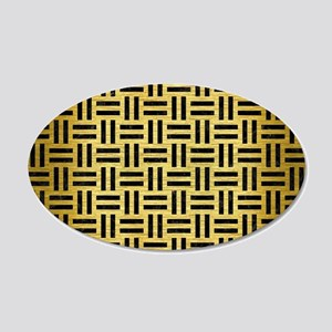 WOVEN1 BLACK MARBLE & GOLD B 20x12 Oval Wall Decal