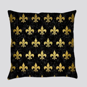 ROYAL1 BLACK MARBLE & GOLD BRUSHED Everyday Pillow