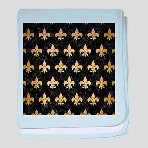 ROYAL1 BLACK MARBLE & GOLD BRUSHED ME baby blanket