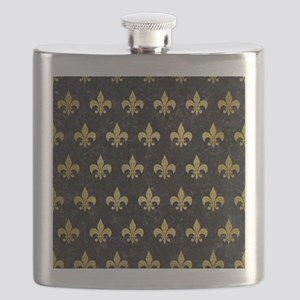 ROYAL1 BLACK MARBLE & GOLD BRUSHED METAL (R) Flask