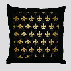 ROYAL1 BLACK MARBLE & GOLD BRUSHED ME Throw Pillow