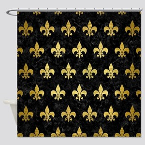 ROYAL1 BLACK MARBLE GOLD BRUSHED Shower Curtain