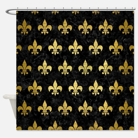 ROYAL1 BLACK MARBLE GOLD BRUSHED Shower Curtain