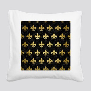 ROYAL1 BLACK MARBLE & GOLD BR Square Canvas Pillow