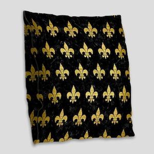 ROYAL1 BLACK MARBLE & GOLD BRU Burlap Throw Pillow