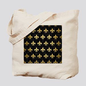 ROYAL1 BLACK MARBLE & GOLD BRUSHED METAL Tote Bag